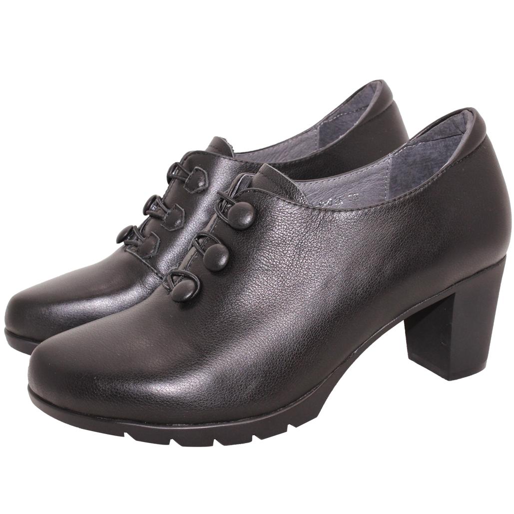 英倫風小牛皮排釦氣墊踝靴