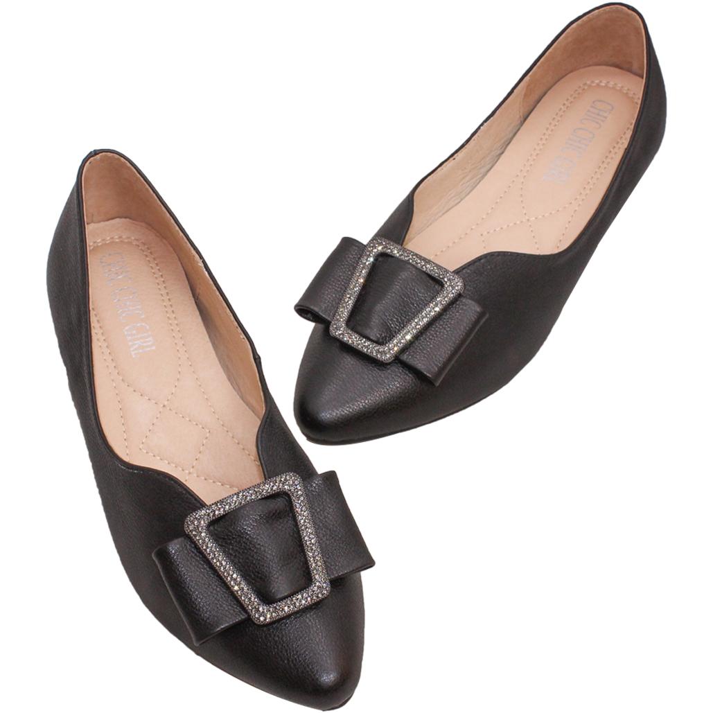 優雅小羊皮淺口水鑽釦娃娃鞋