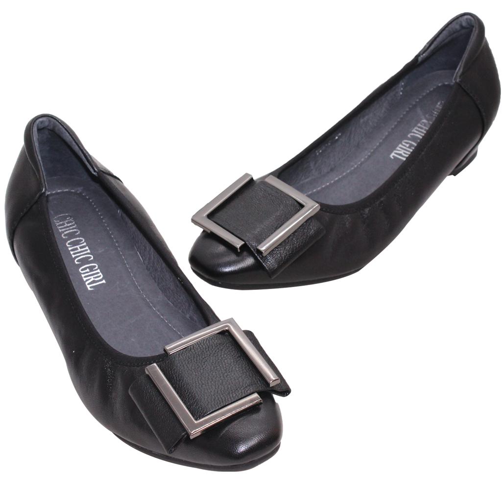 優雅方釦小羊皮微增高娃娃鞋