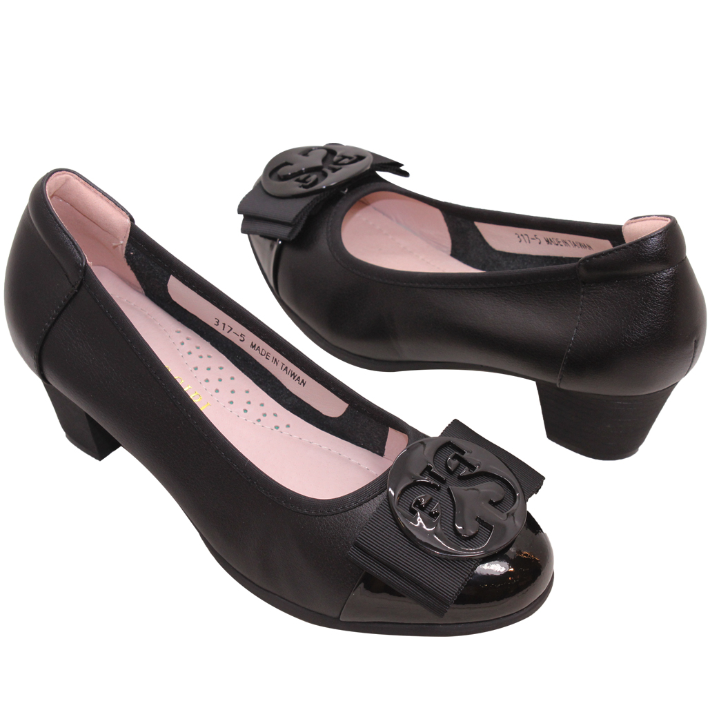 時尚OL通勤款小羊皮中跟鞋