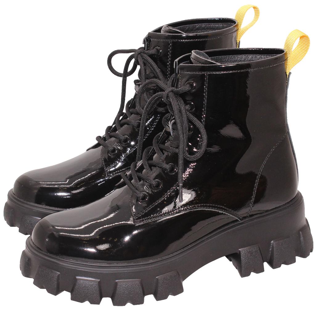 時尚百搭小牛皮輕量厚底軍靴