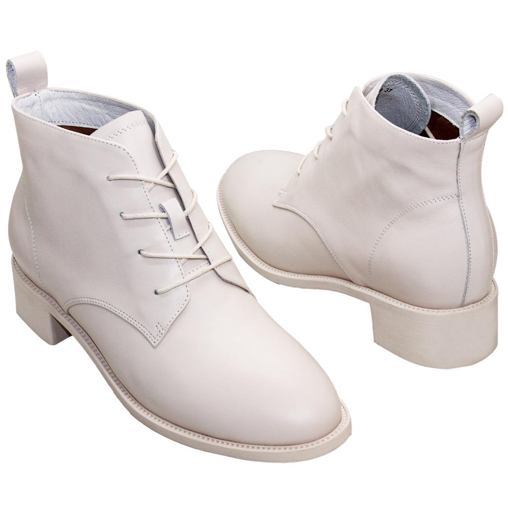 時尚百搭小牛皮低跟綁帶短靴