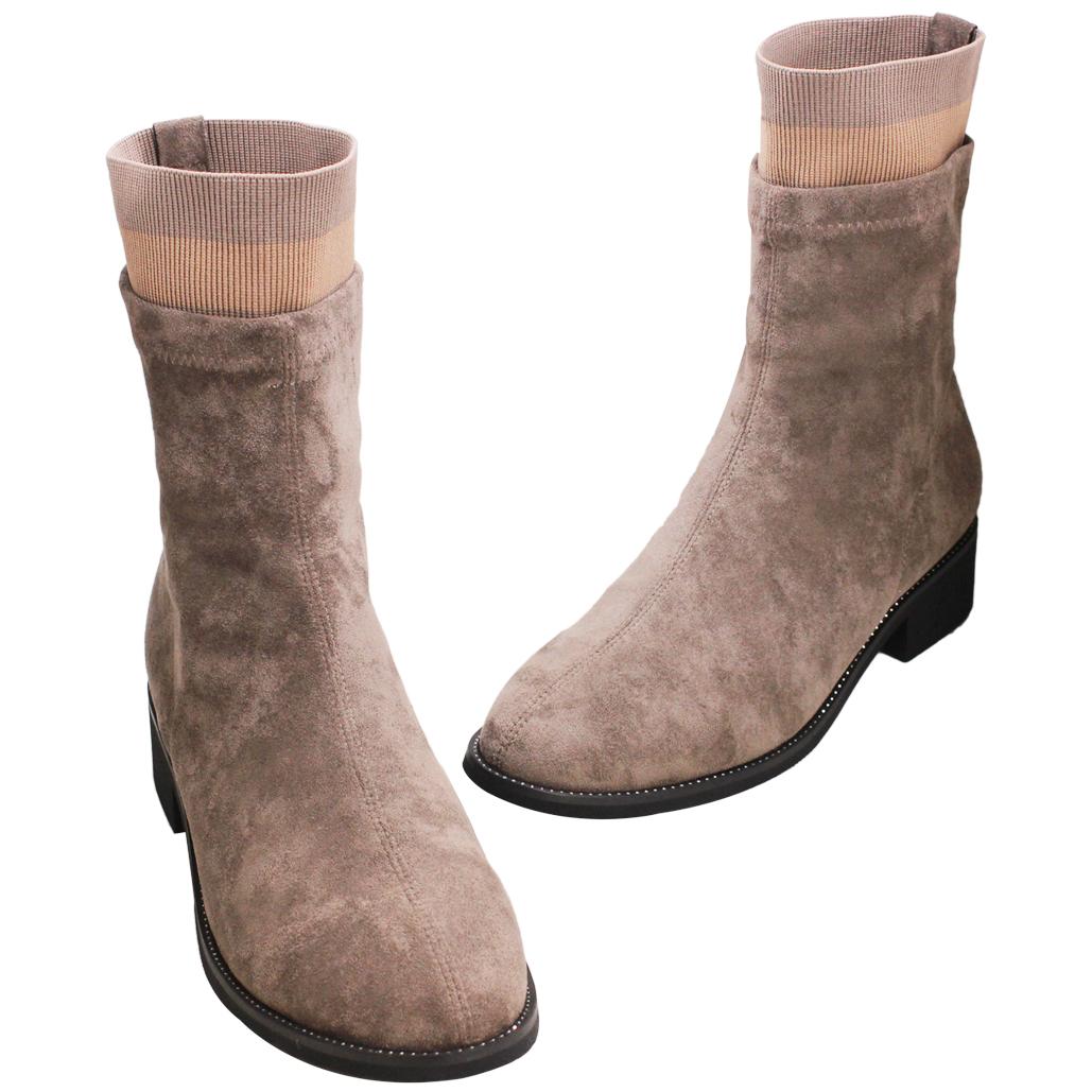 時尚彈性羊麂皮高筒襪靴