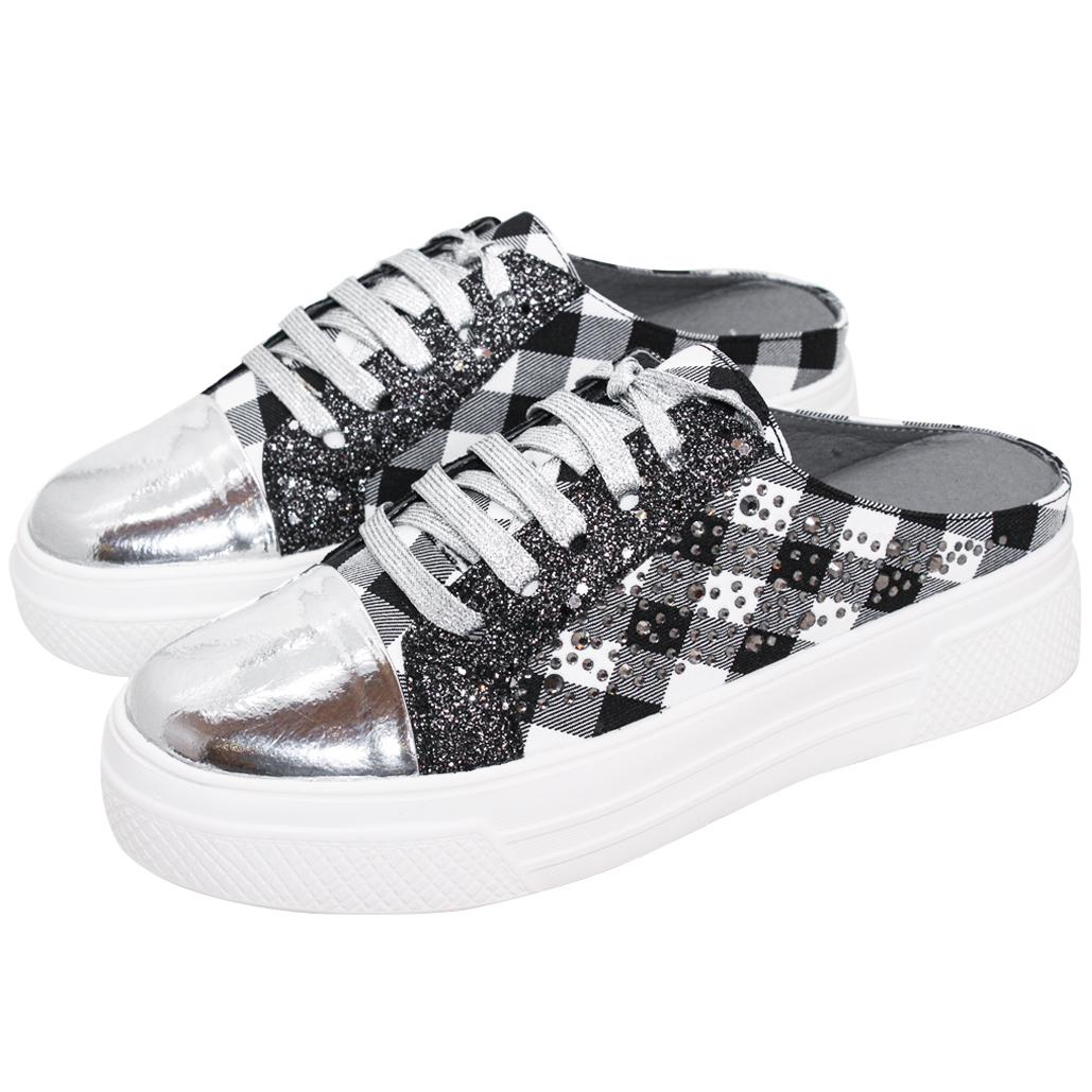 經典黑白格紋小牛皮休閒穆勒鞋