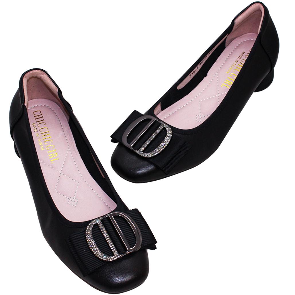 OL款小羊皮特殊圓跟鞋