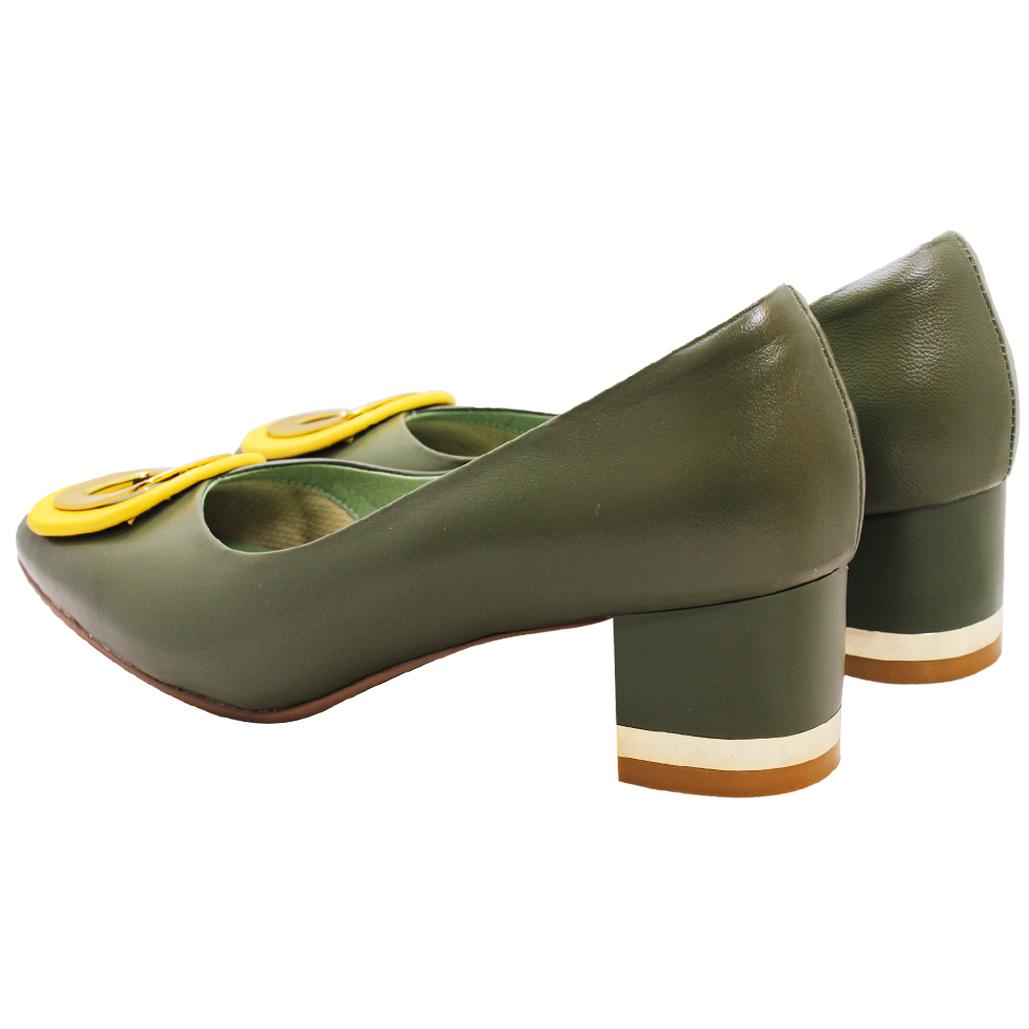 經典方釦小羊皮方頭粗跟鞋