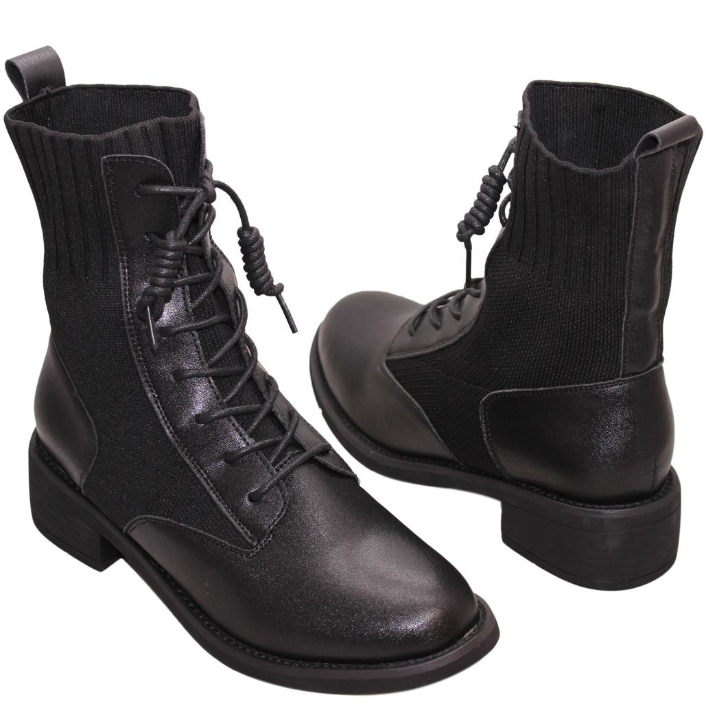 帥氣拼接小牛皮低跟綁帶襪靴