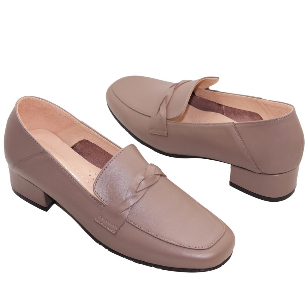 百搭小羊皮氣墊方頭低跟鞋