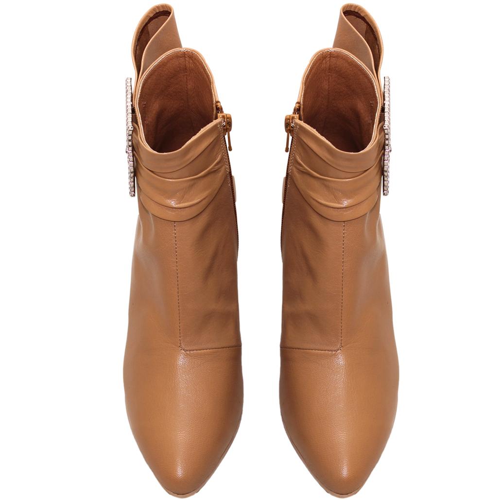 精品風小羊皮蝴蝶結方釦細跟短靴