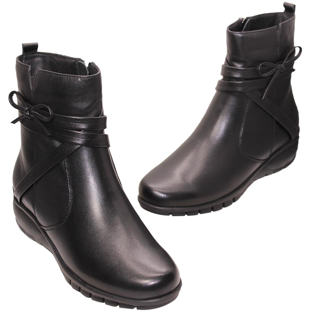 優雅小羊皮蝴蝶結氣墊楔型短靴
