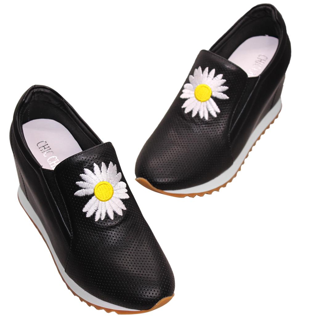 休閒風小雛菊牛皮雷雕增高鞋