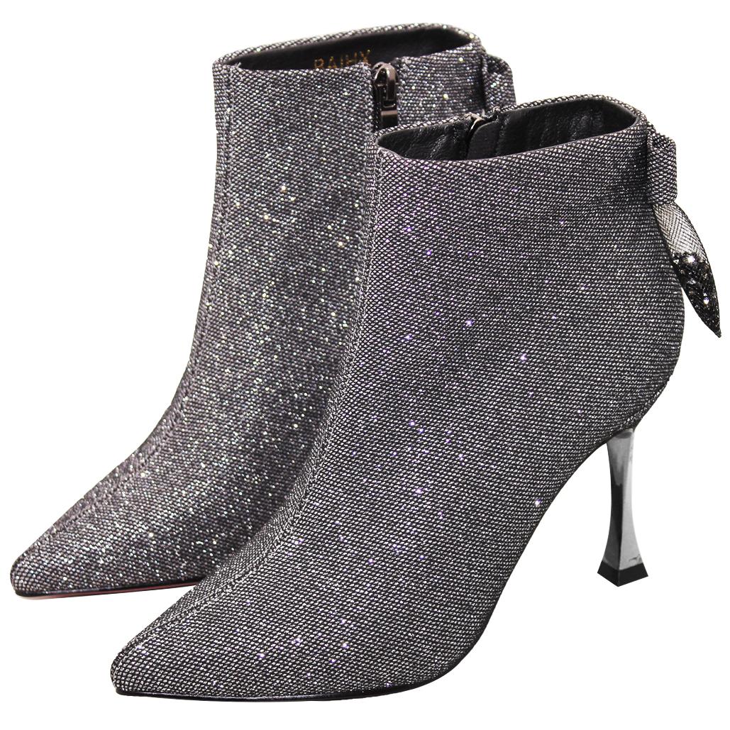 派對款閃亮銀蔥鑲鑽細跟踝靴