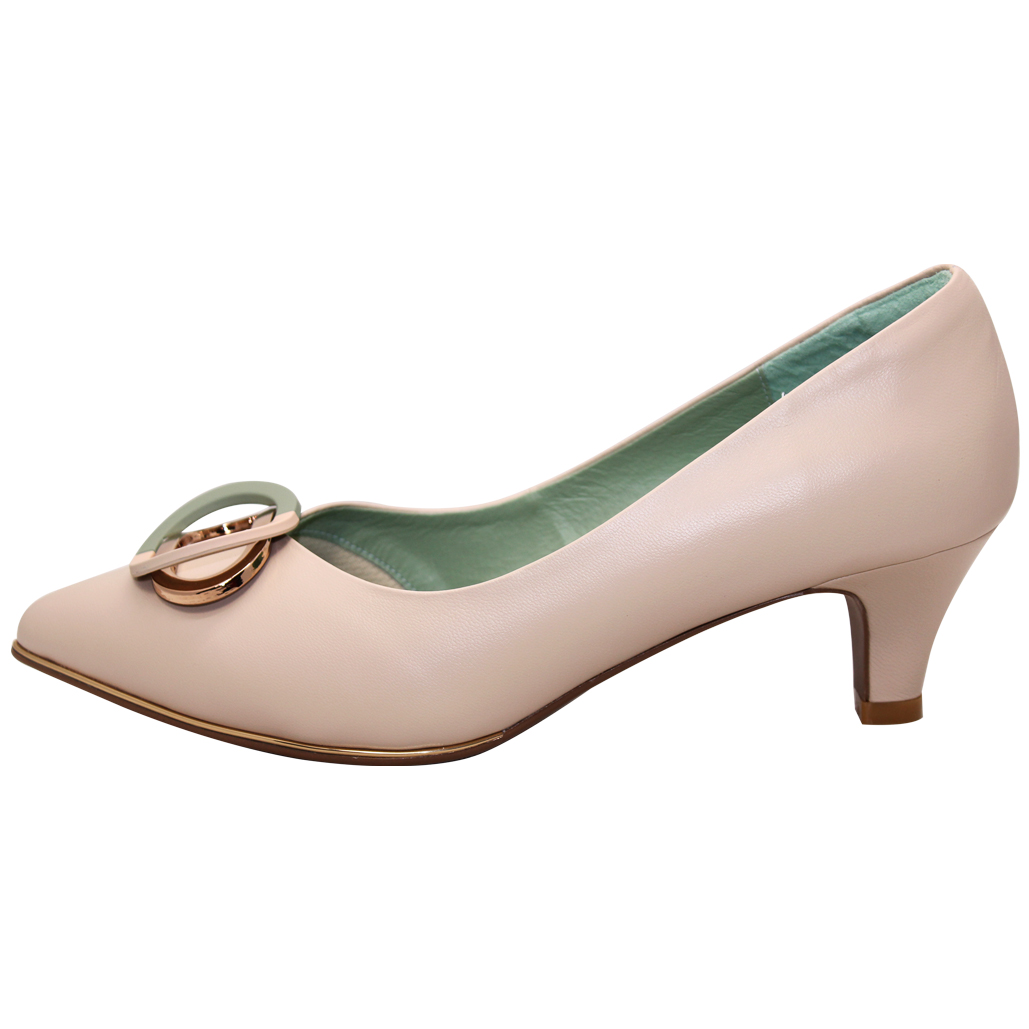 時尚撞色小羊皮寬楦低跟鞋