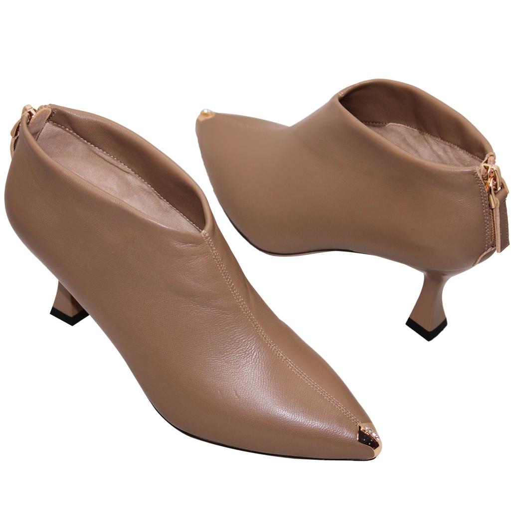 性感小羊皮尖頭高跟踝靴