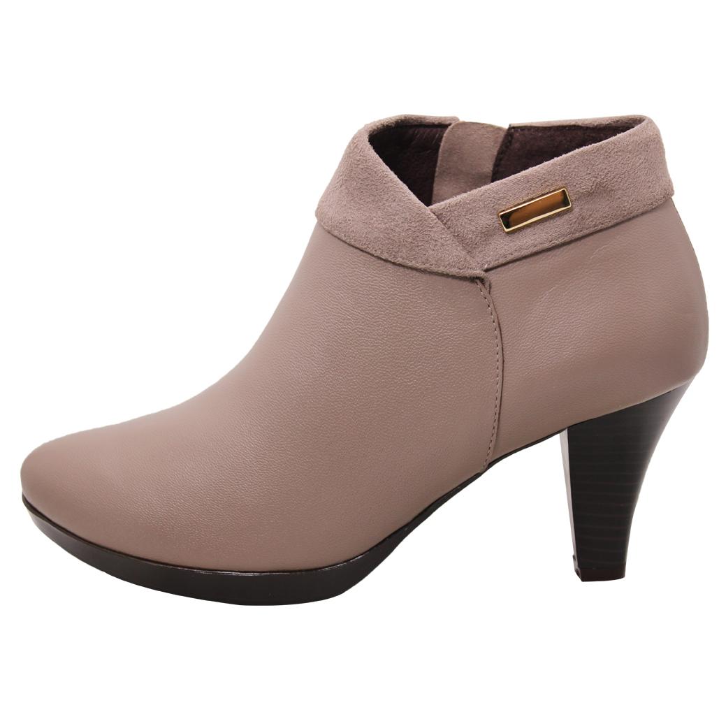 優雅拼接翻領小羊皮高跟短靴