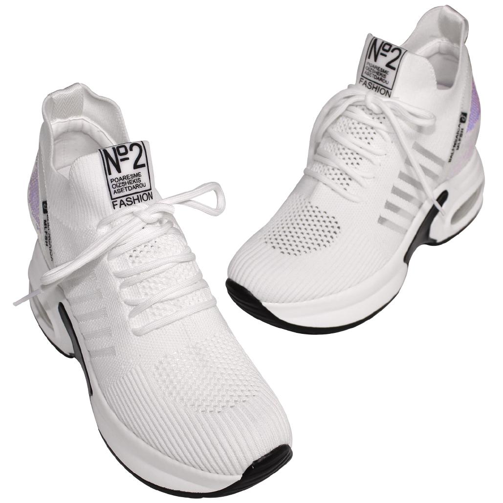 時尚運動風飛織綁帶內增高鞋