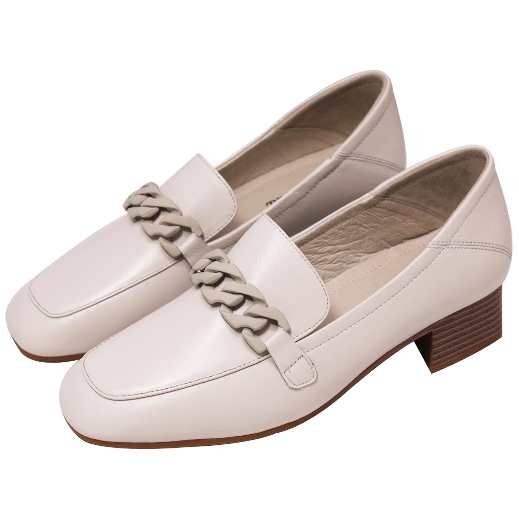 百搭小羊皮方頭樂福鞋