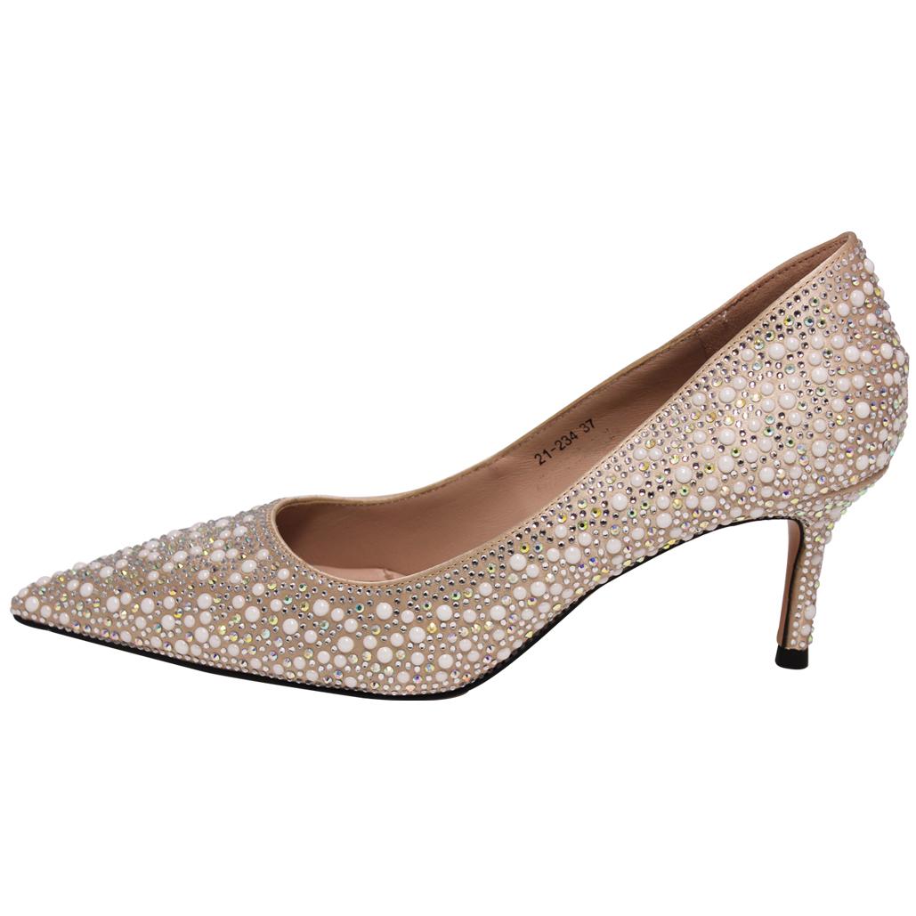 浪漫奢華手工貼鑽顯瘦尖頭婚鞋