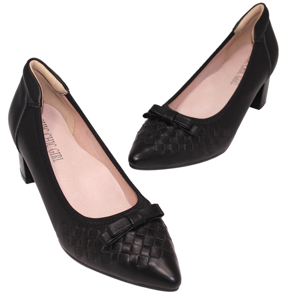 BV風編織小羊皮氣墊跟鞋