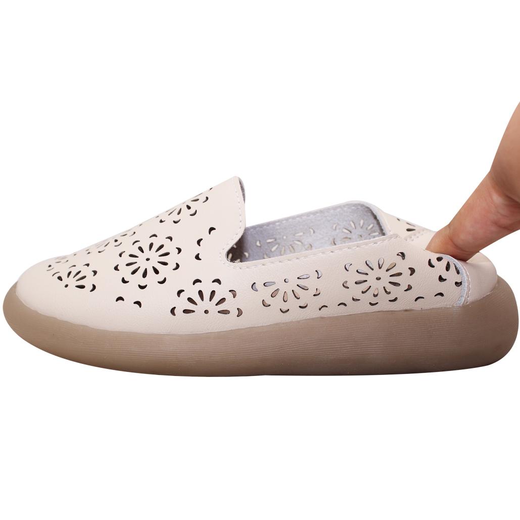 軟Q雷雕小牛皮厚底娃娃鞋