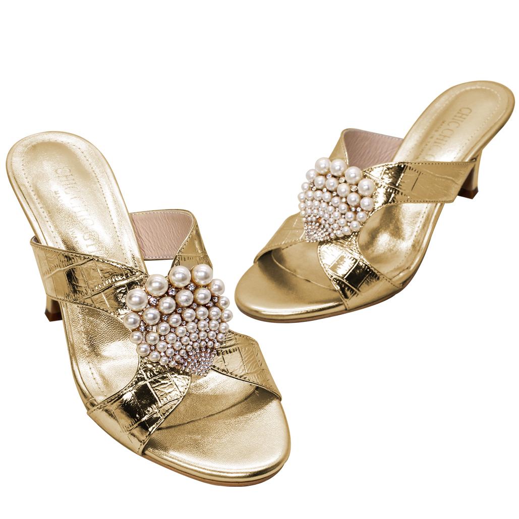 閃亮大理石紋小羊皮珍珠涼鞋