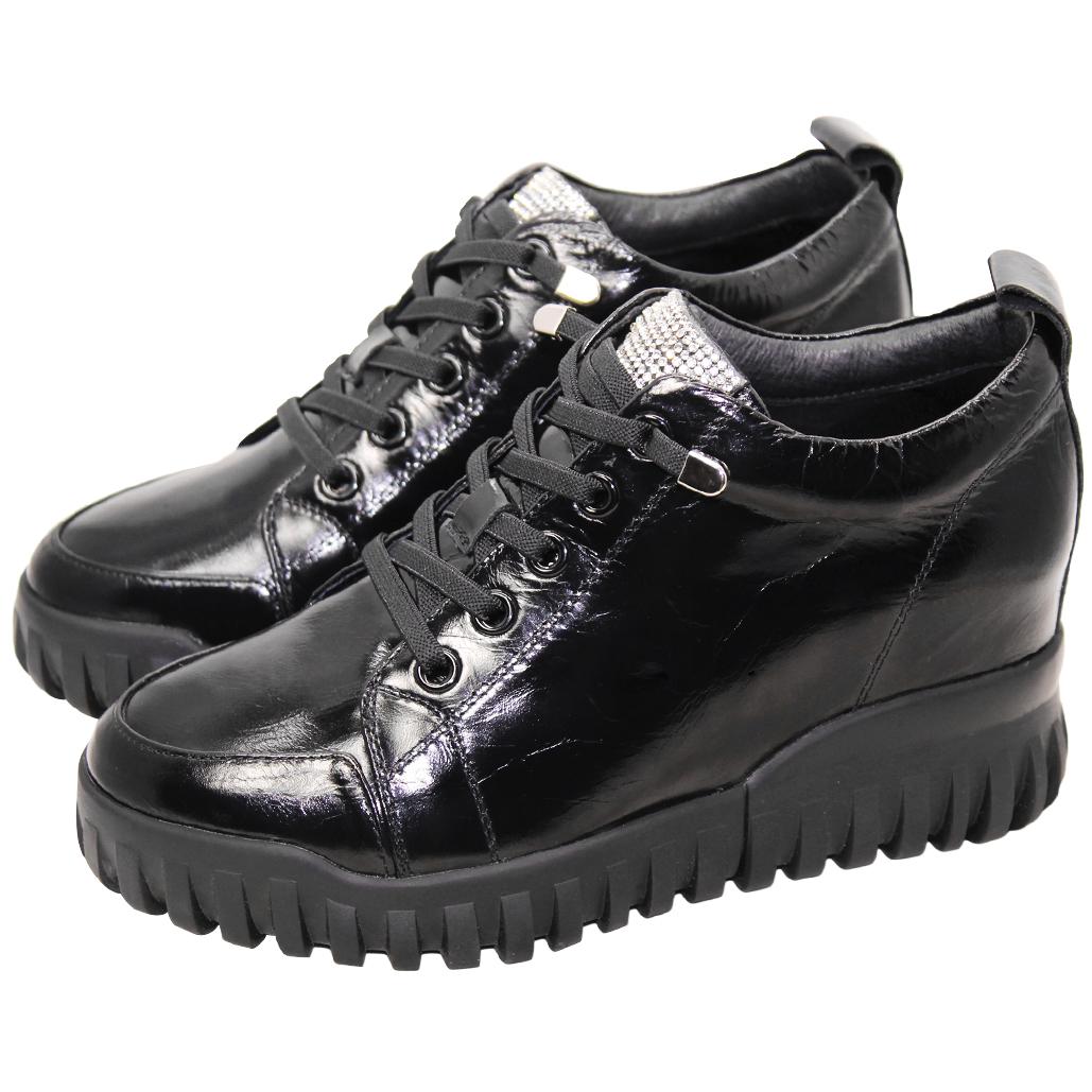 休閒風素面羊漆皮內增高鞋