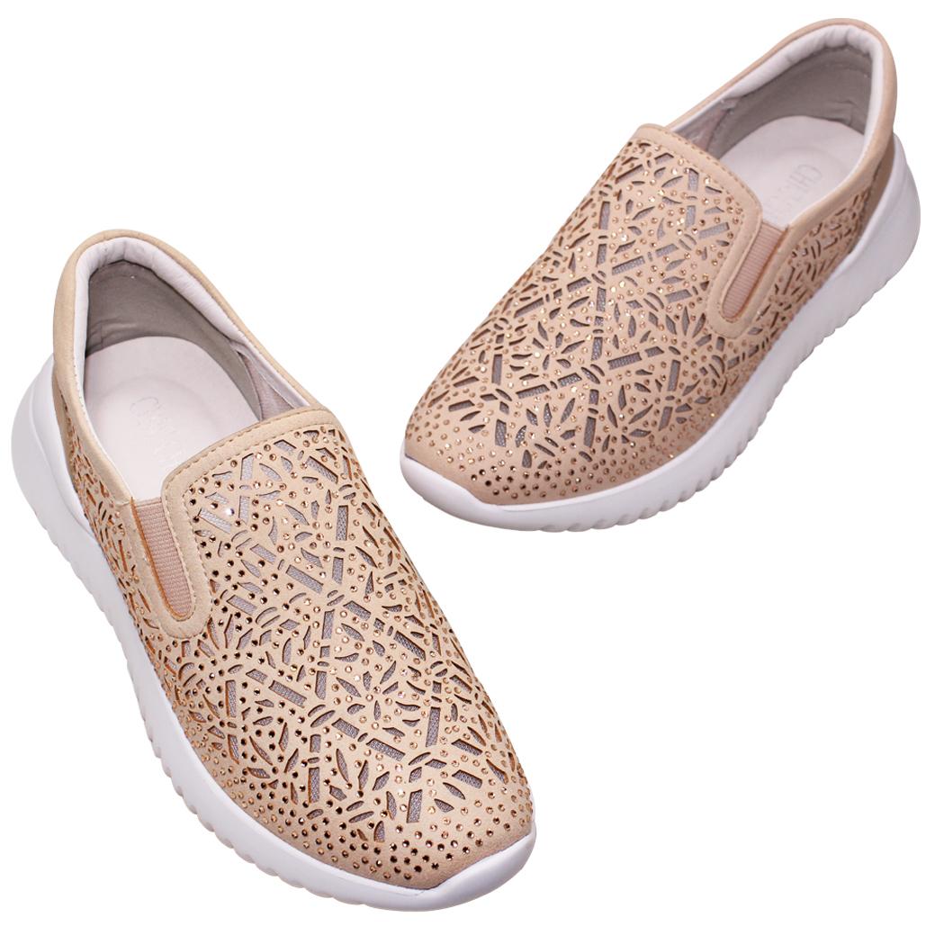 輕量化小牛皮水鑽休閒鞋
