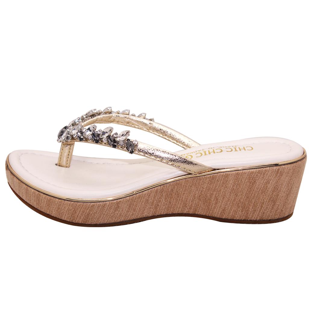 閃亮寶石小羊皮夾腳輕量楔型鞋