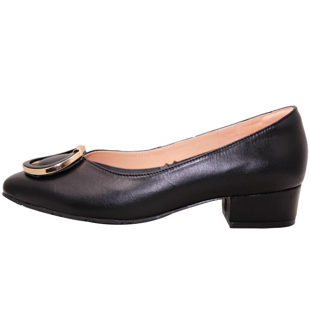 時尚OL小牛皮氣墊低跟鞋
