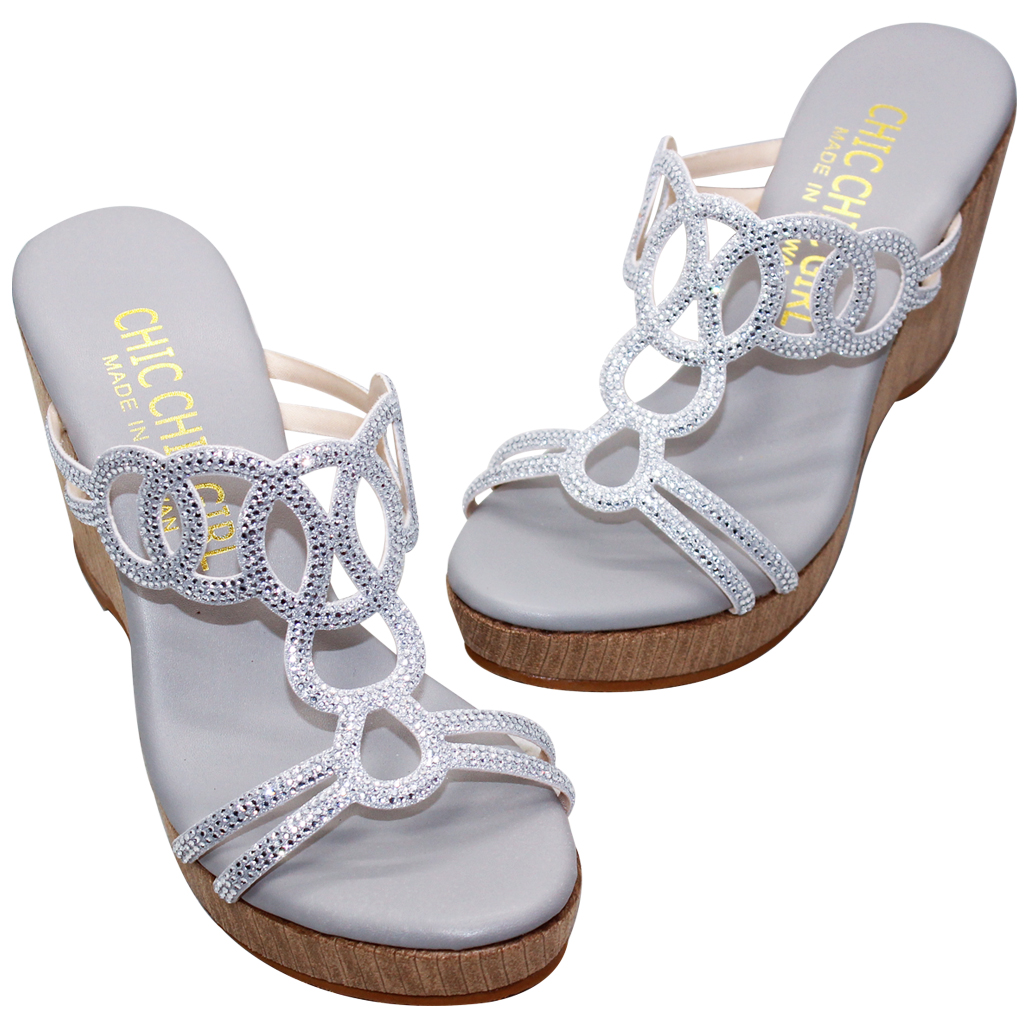 水鑽雷雕小羊皮輕量楔行涼鞋