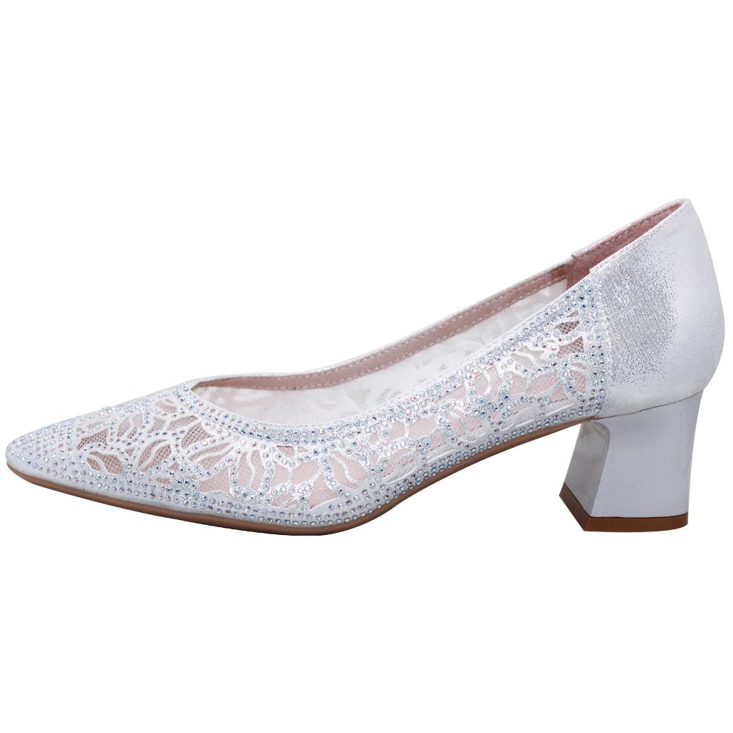 華麗款鏤空水鑽小羊皮中跟鞋