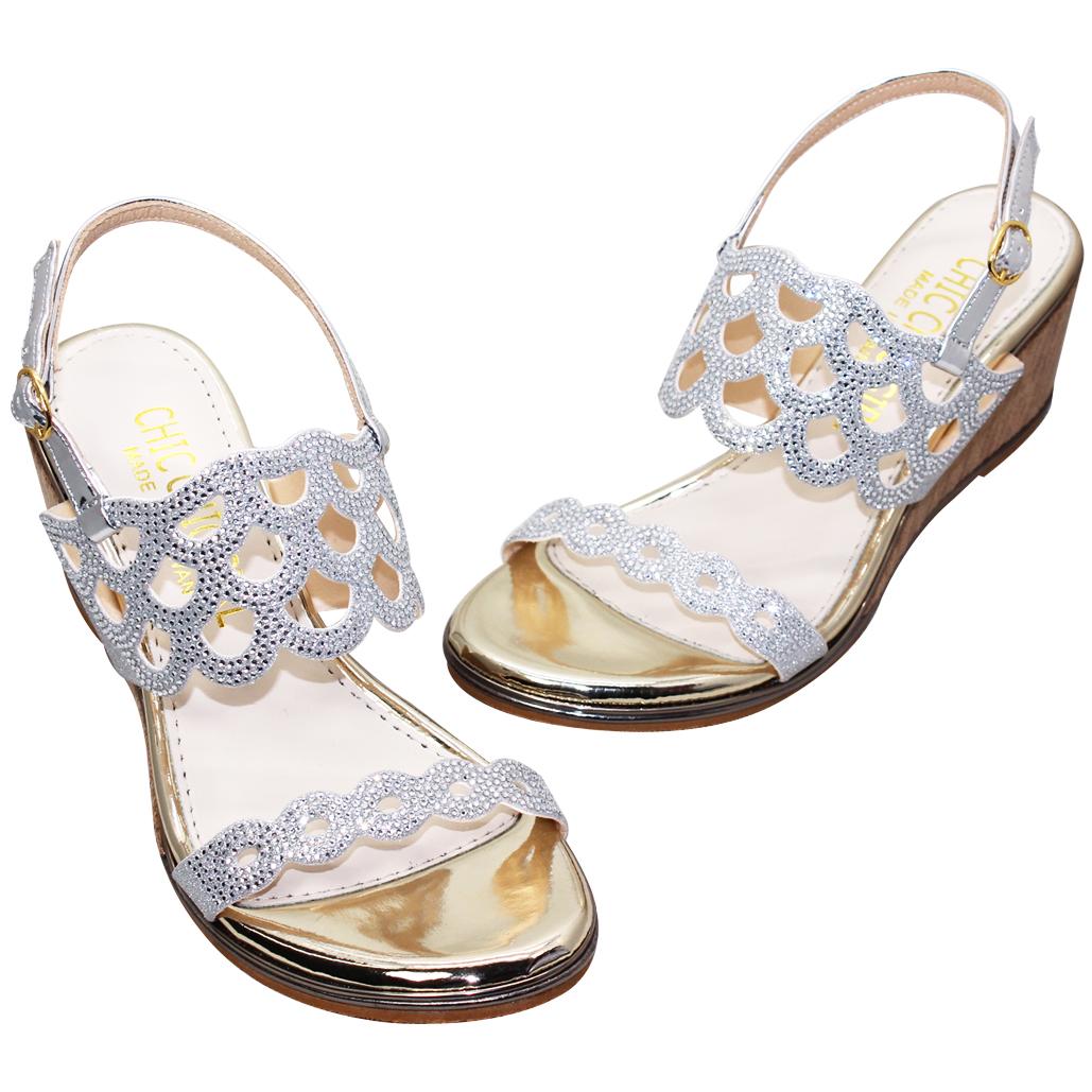 浪漫水鑽小羊皮楔型涼鞋