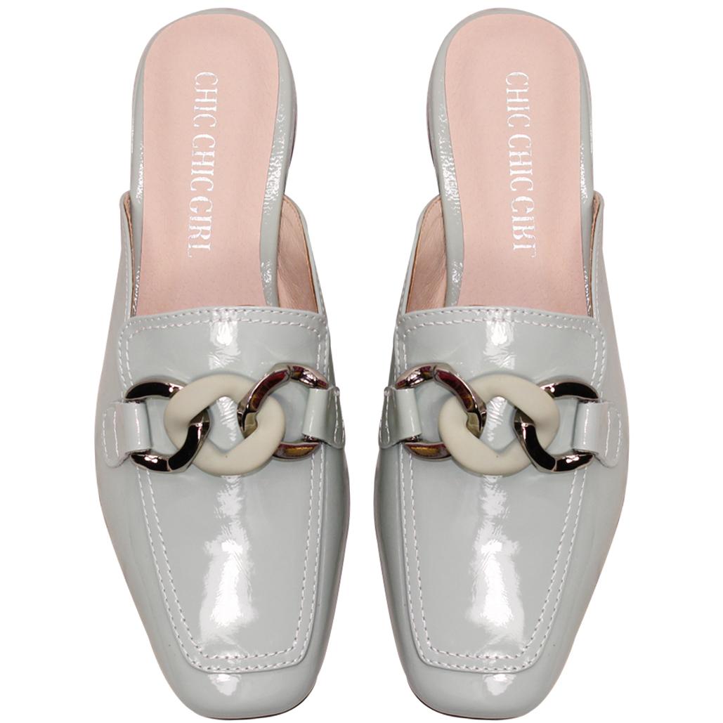精品風羊漆皮撞色鎖鏈穆勒鞋