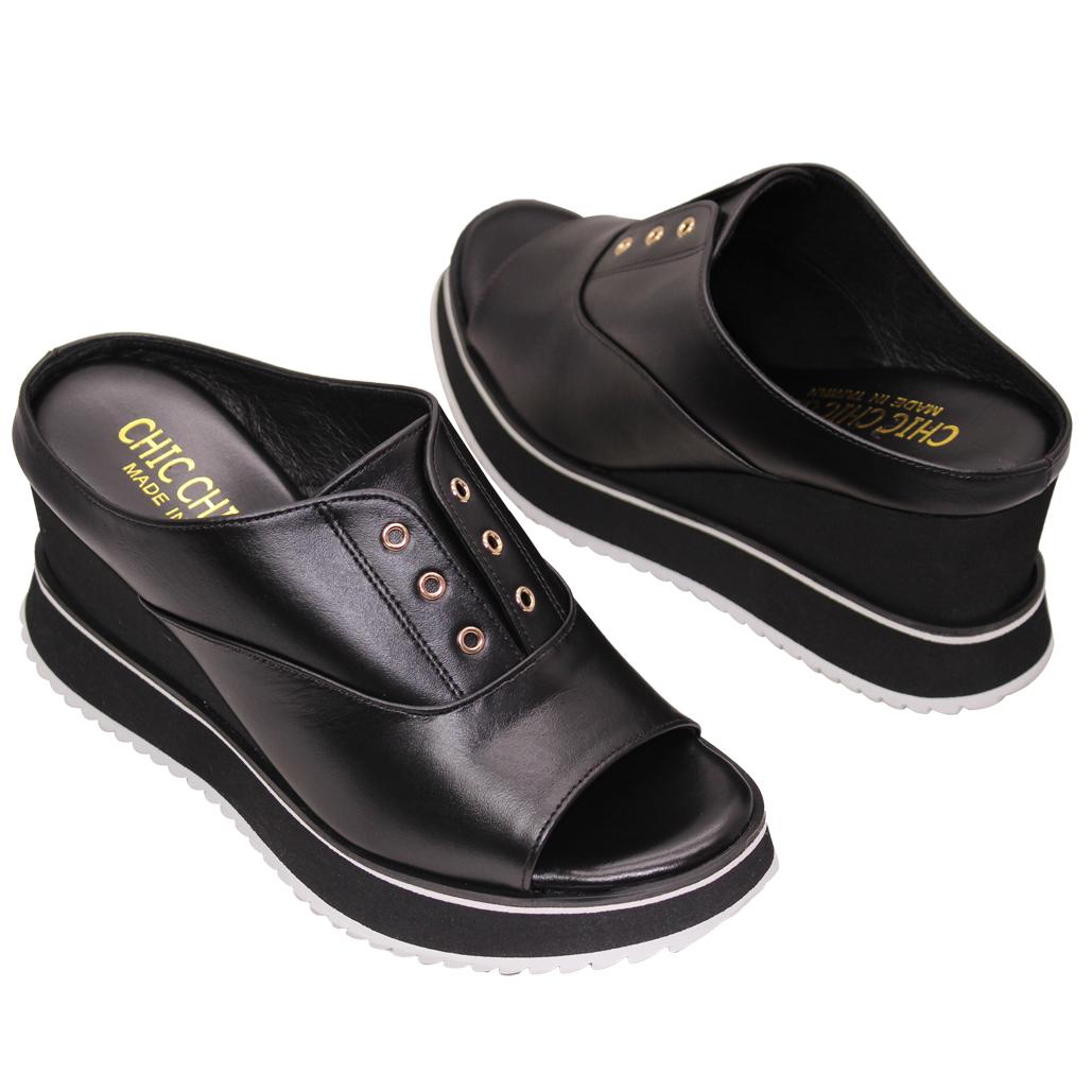 休閒風小牛皮平底楔型涼鞋