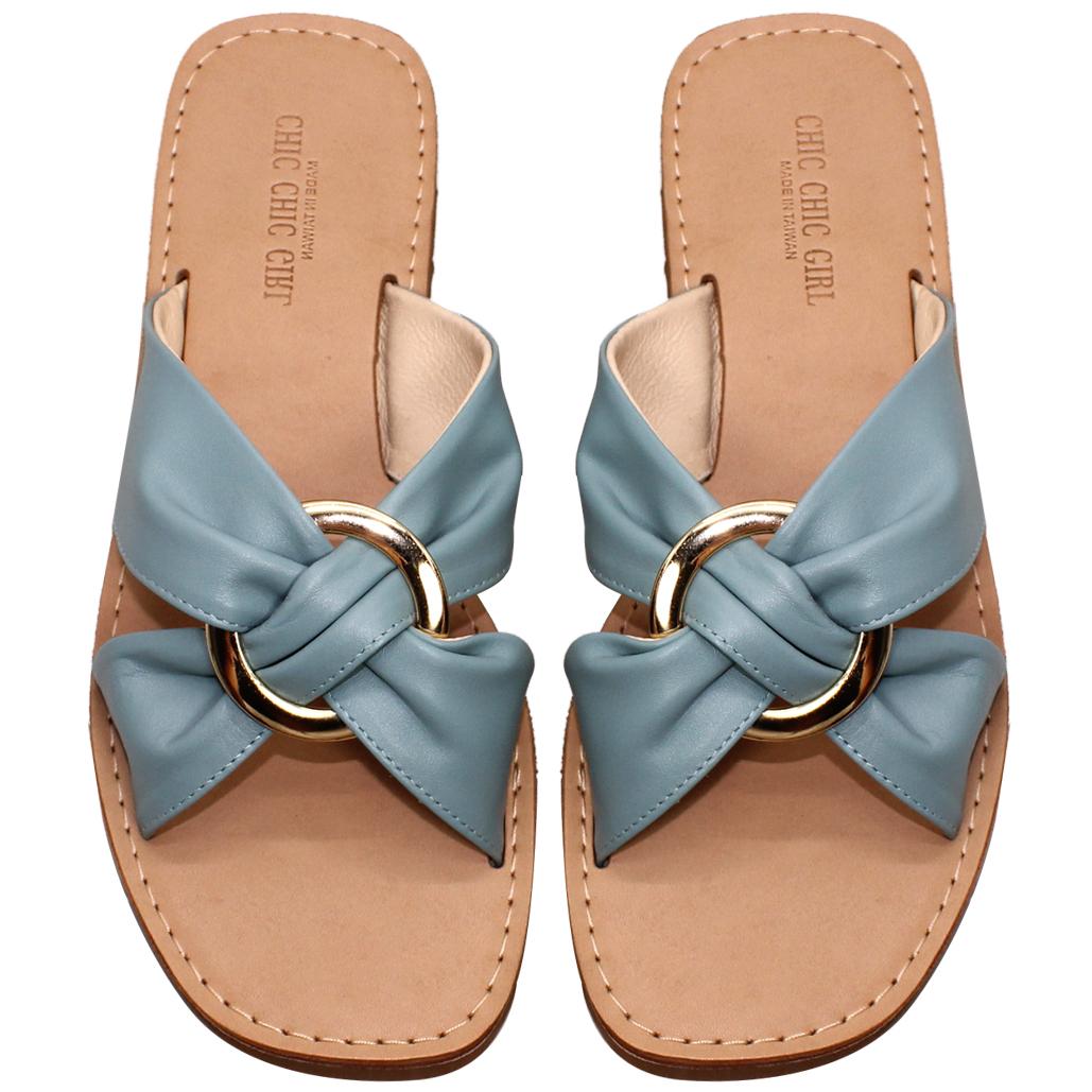 渡假風小牛皮氣墊平口涼鞋