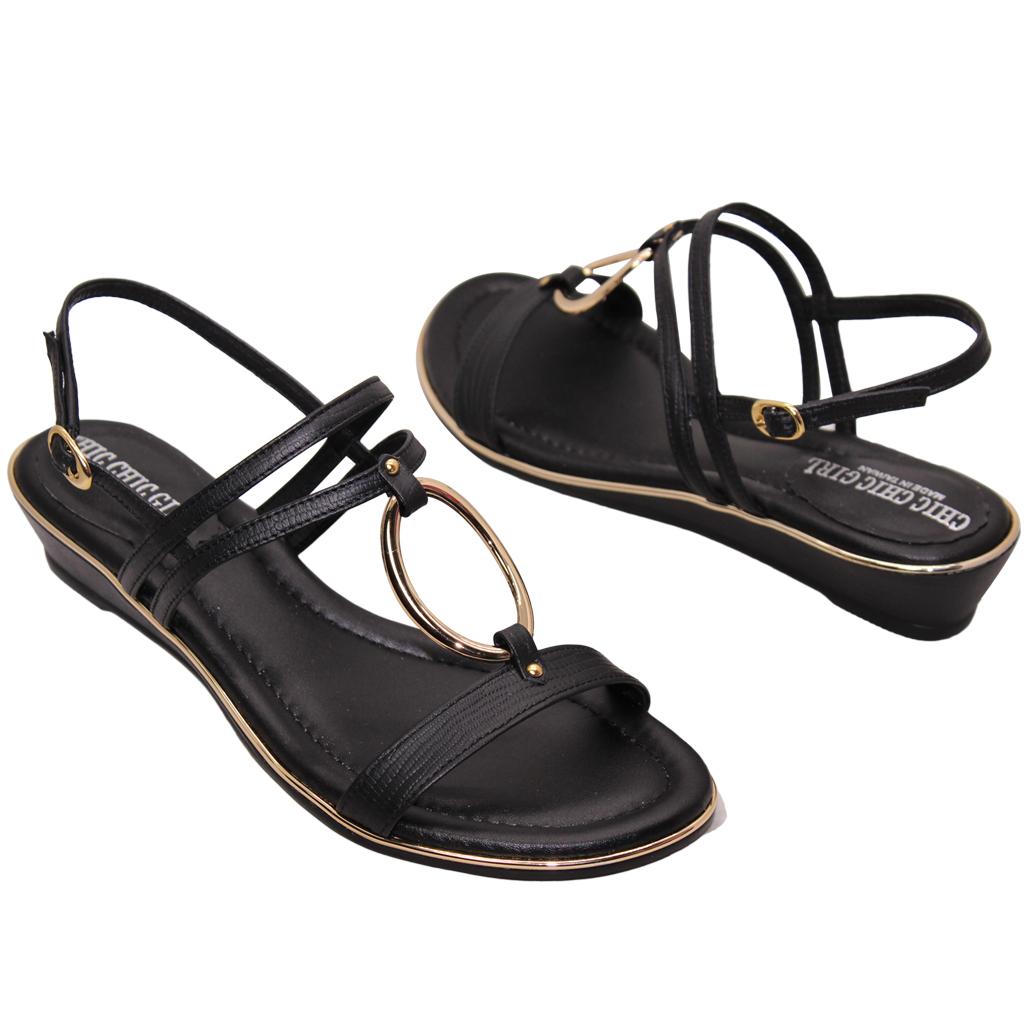 優雅小羊皮平口楔型涼鞋