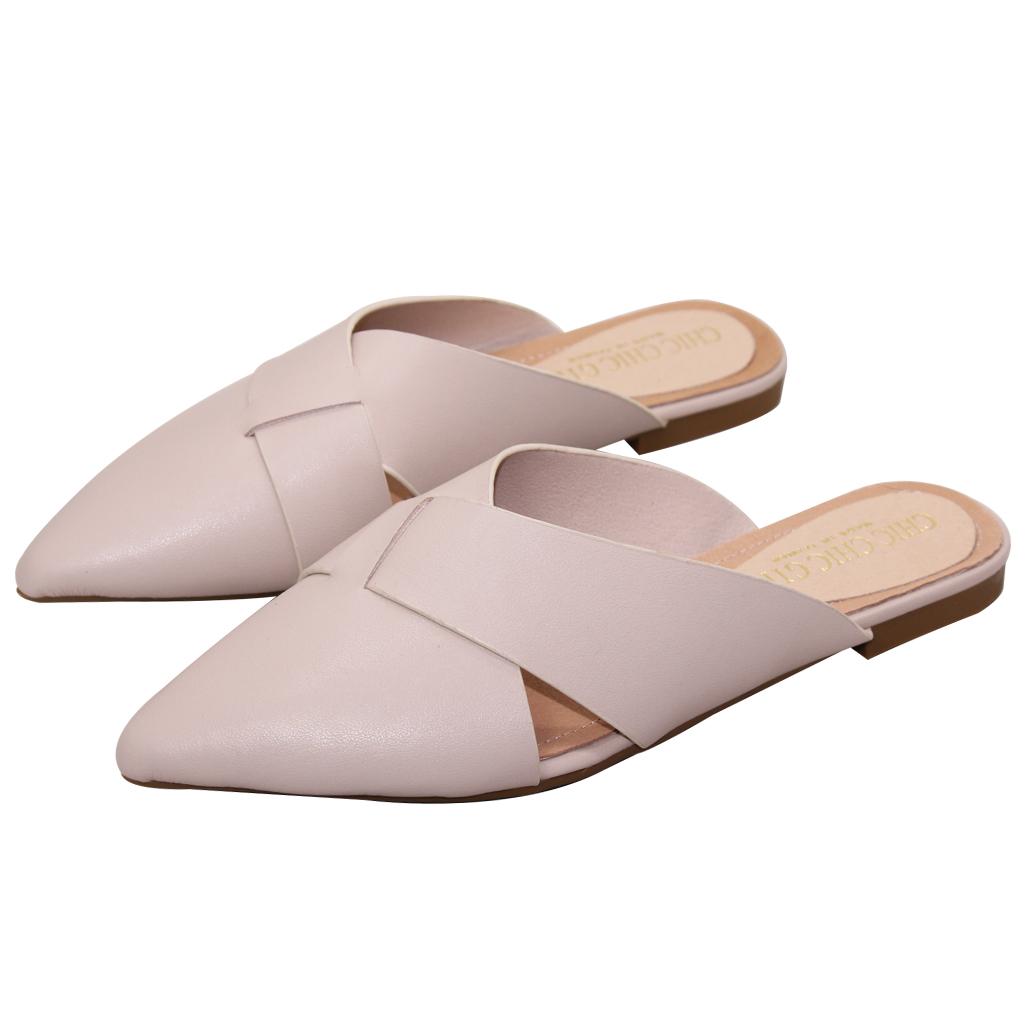 時尚編織小羊皮穆勒鞋