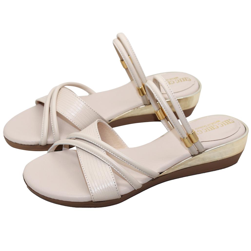 優雅2way小羊皮楔型涼鞋