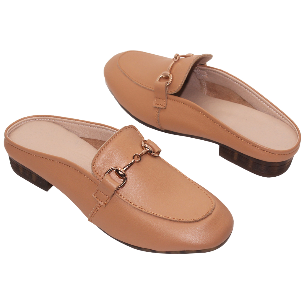 時尚馬銜釦小牛皮穆勒鞋