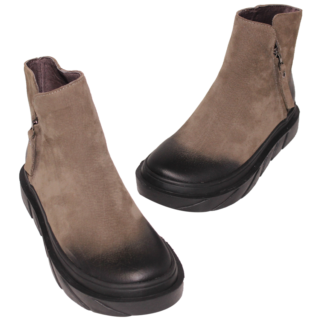 基本款牛麂皮厚底保暖短靴