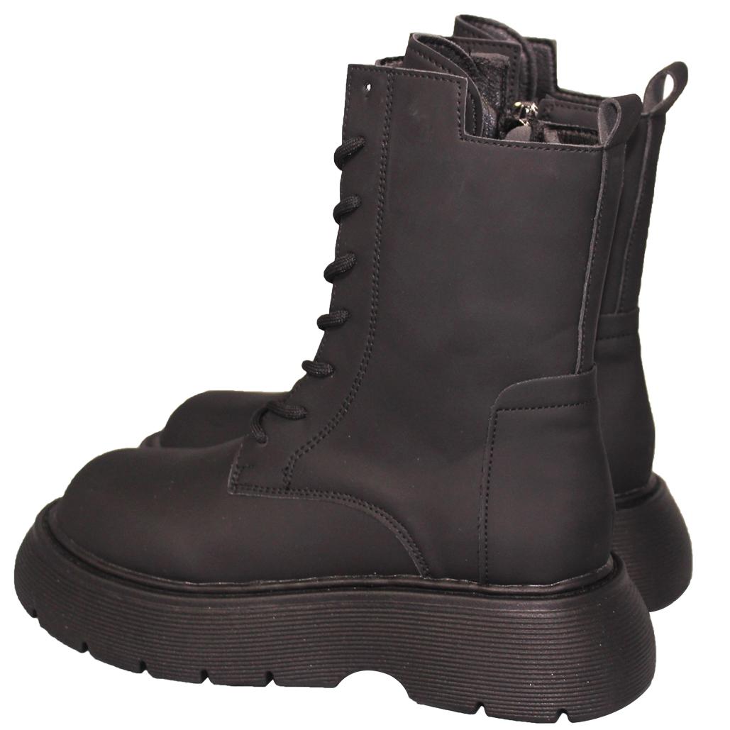 帥氣霧面小牛皮綁帶中筒靴