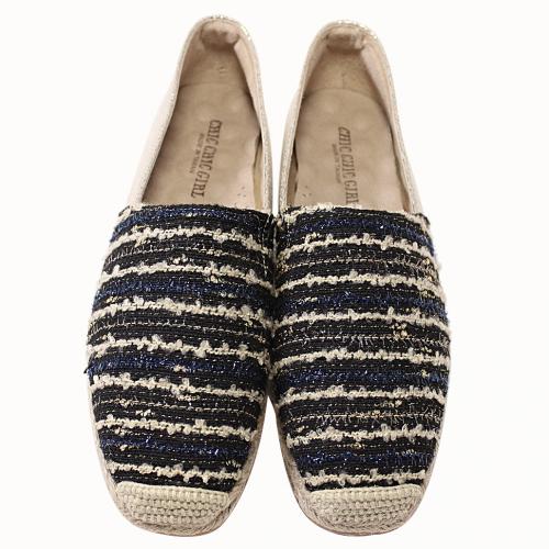 小香風時尚氣墊草編鞋