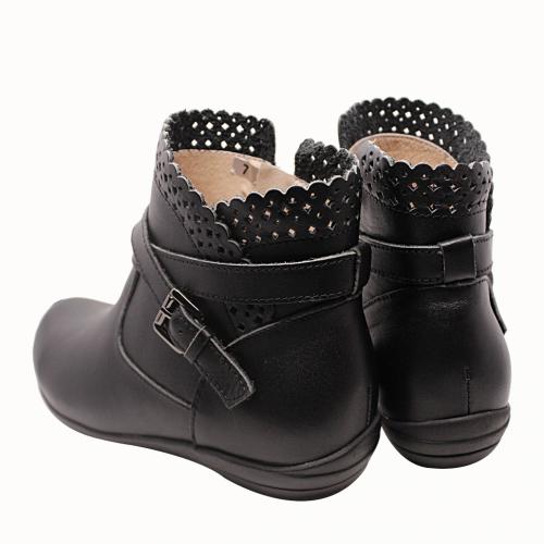小牛皮雷雕氣墊短靴