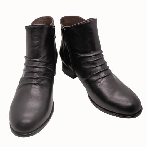 小牛皮抓皺輕量化短靴
