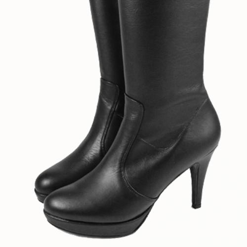 小牛皮經典款4吋過膝長靴