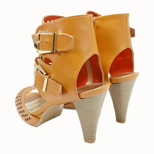 雷射雕花性感高跟羅馬涼鞋