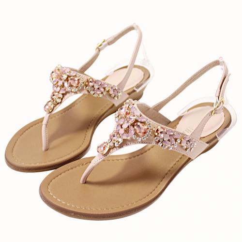 閃耀寶石小羊皮楔型涼鞋