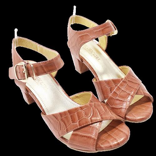 大理石壓紋小羊皮低粗跟涼鞋