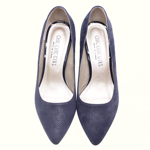 質感小羊皮特殊壓紋尖頭低粗跟鞋