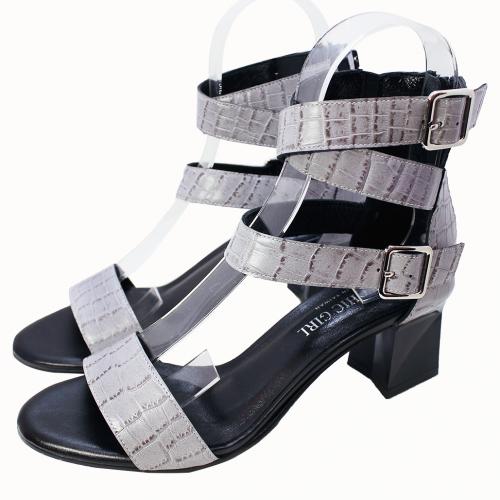 小羊皮大理石壓紋踝帶涼鞋
